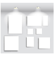 Beauty gallery interior with empty frames vector