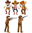 Cowboys and hunters vector