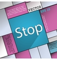 Stop icon symbol flat modern web design with long vector
