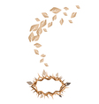 Dried leaves falling to a crown of thorns vector