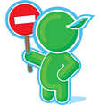Green hero with stop sign vector