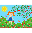 Small girl near cherry tree in sunny summer day vector