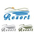 Sketch hills and sea emblem of resort vector