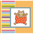 Greeting card with cute little rat vector