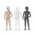 Set of three child mannequins isolated on white vector