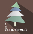 Retro brown merry christmas with paper cut t vector