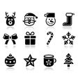 Christmas black icons with shadow set - santa vector