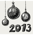 Hand drawn vintage christmas balls vector