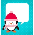 Penguin with hat and scarf vector