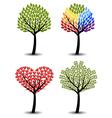 Set of trees eco rainbow hearts money concept vector