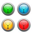 Goblet icon glass button set vector