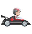 A young boy riding in his racing car vector