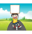 Boy holding signage vector