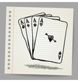 Doodle sketch of 4 aces vector