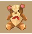 Origami teddy bear with red bow vector
