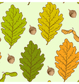 Seamless pattern with autumn oak leaves vector