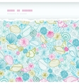 Seashells line art horizontal torn seamless vector