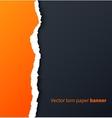 Orange torn paper with drop shadows on dark vector