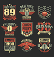 College rugby team emblems vector