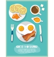 Breakfast icon poster vector