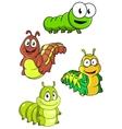 Cute colorful cartoon caterpillars characters vector