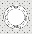 Hand drawn frame on polka dots grey background vector