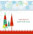 Christmas trees card in traditional colors over vector