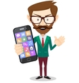 Businessman is holding in his hand smartphone vector