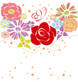 Abstract springtime colorful flowers on white back vector