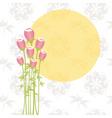 Springtime pink rose flowers on seamless pattern b vector