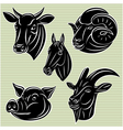 Collection of heads animals for design vector