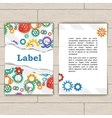 Card with gears and torn paper vector