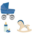 Baby perambulator bottle nipple and rocking horse vector