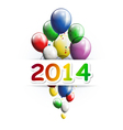 Happy new year 2014 greeting card with balloons vector