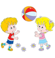 Children playing a ball vector