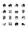 Real estate icons with reflection vector