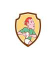 Rugby player running ball shield cartoon vector