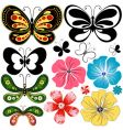 New set butterflies and flowers vector