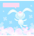 Smiling rabbit on a floral background vector