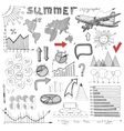 Summer infographic big set of sketch drawing info vector