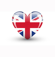 Heart-shaped icon with national flag of the uk vector