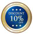 Ten percent discount blue medal vector