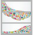 Social media icons web banner set vector