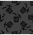 Trash bin web icon flat design seamless gray vector