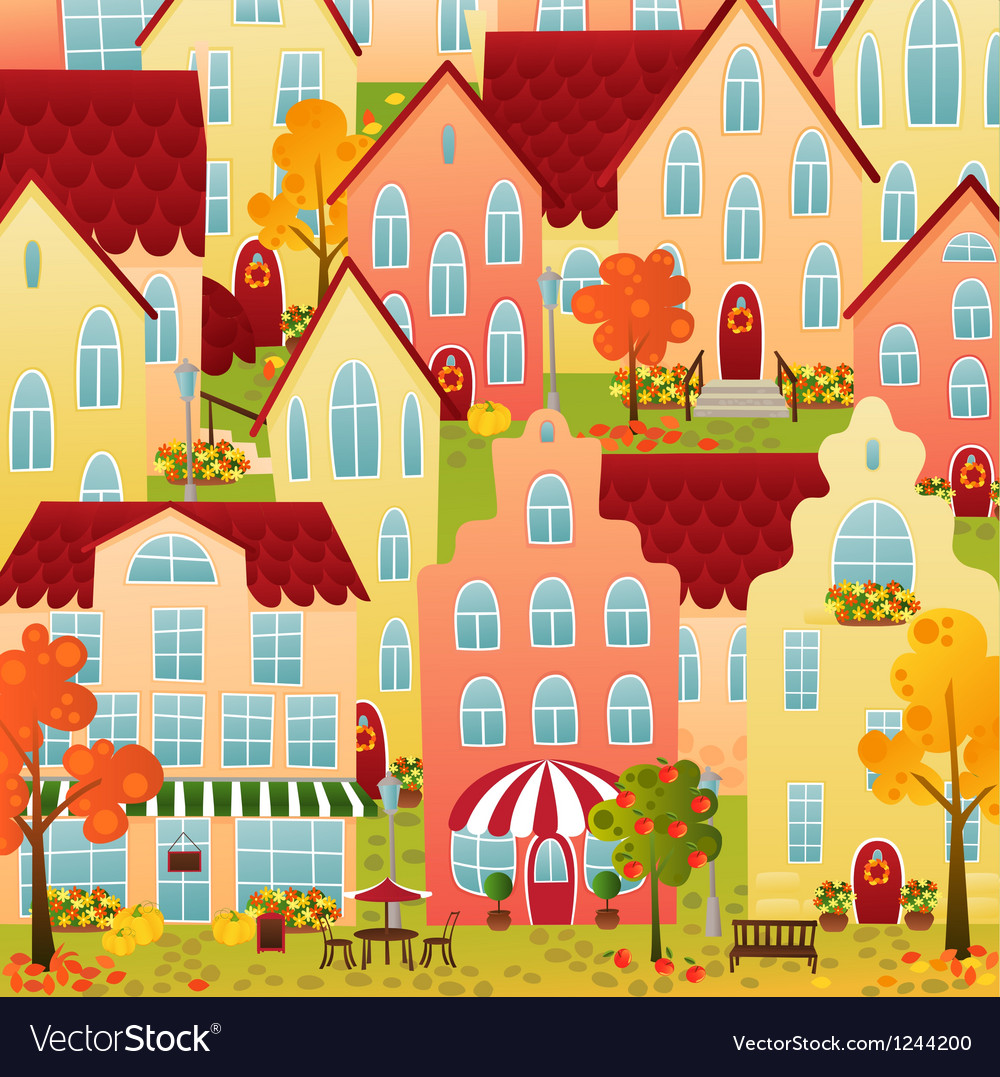 Autumn town vector | Price: 3 Credit (USD $3)