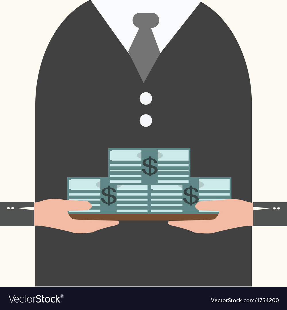 Businessman holding a tray with money vector | Price: 1 Credit (USD $1)