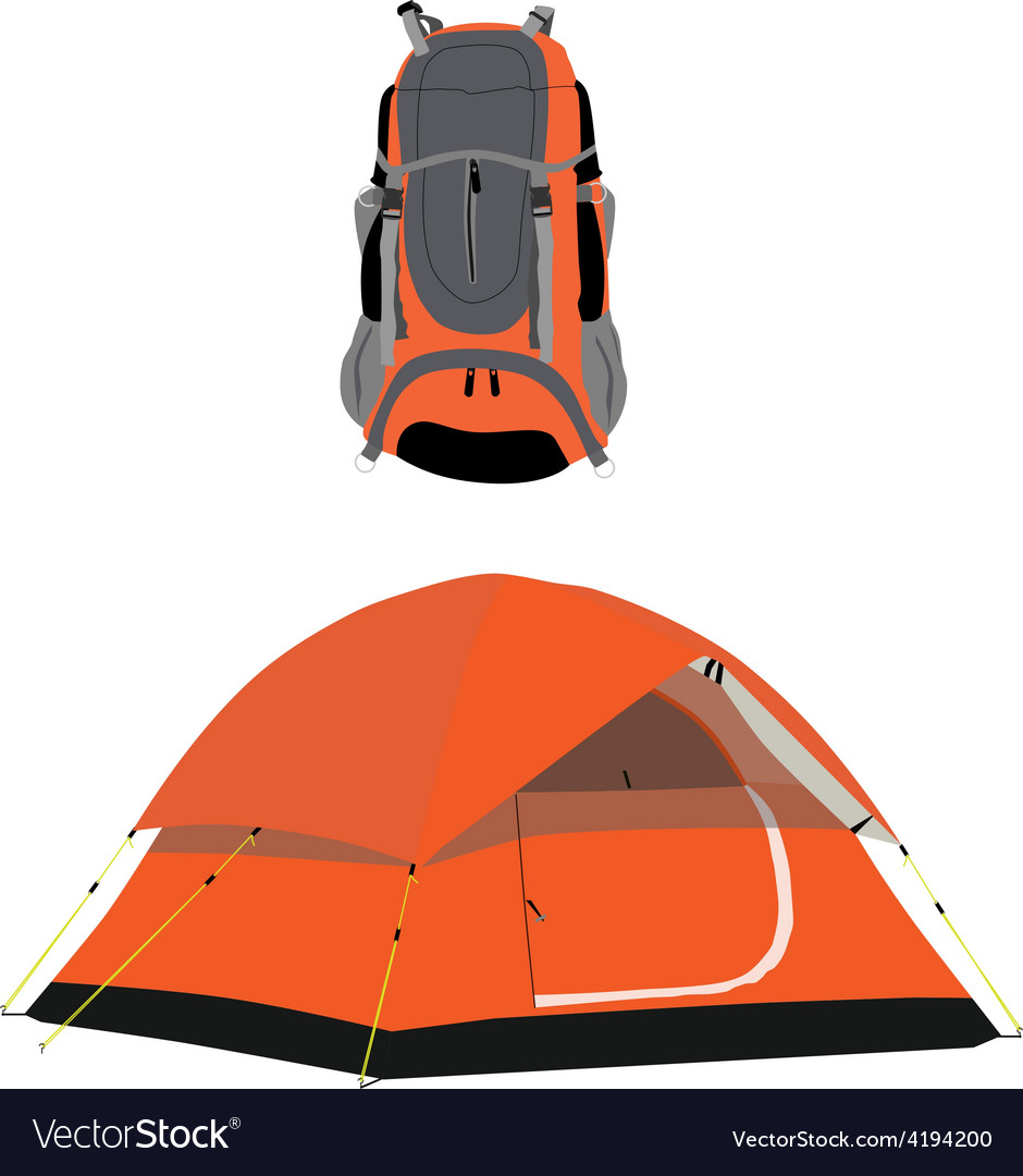 Camping tent and backpack vector | Price: 1 Credit (USD $1)