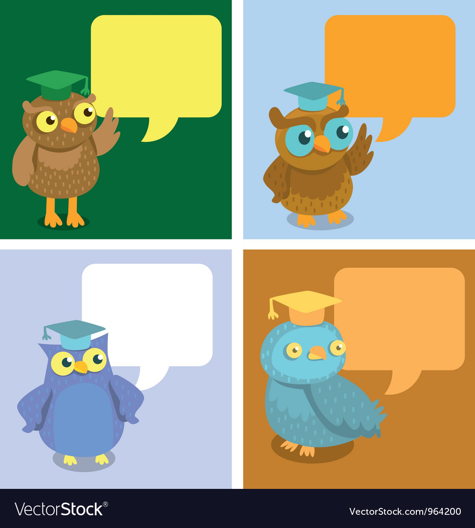 Cute owl with speech bubbles vector | Price: 1 Credit (USD $1)