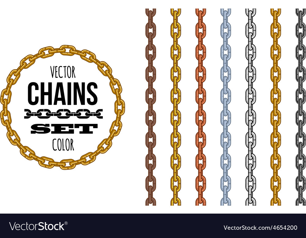 Different metallic material and color style chains vector | Price: 1 Credit (USD $1)