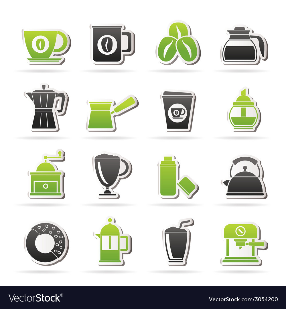 Different types of coffee industry icons vector | Price: 1 Credit (USD $1)